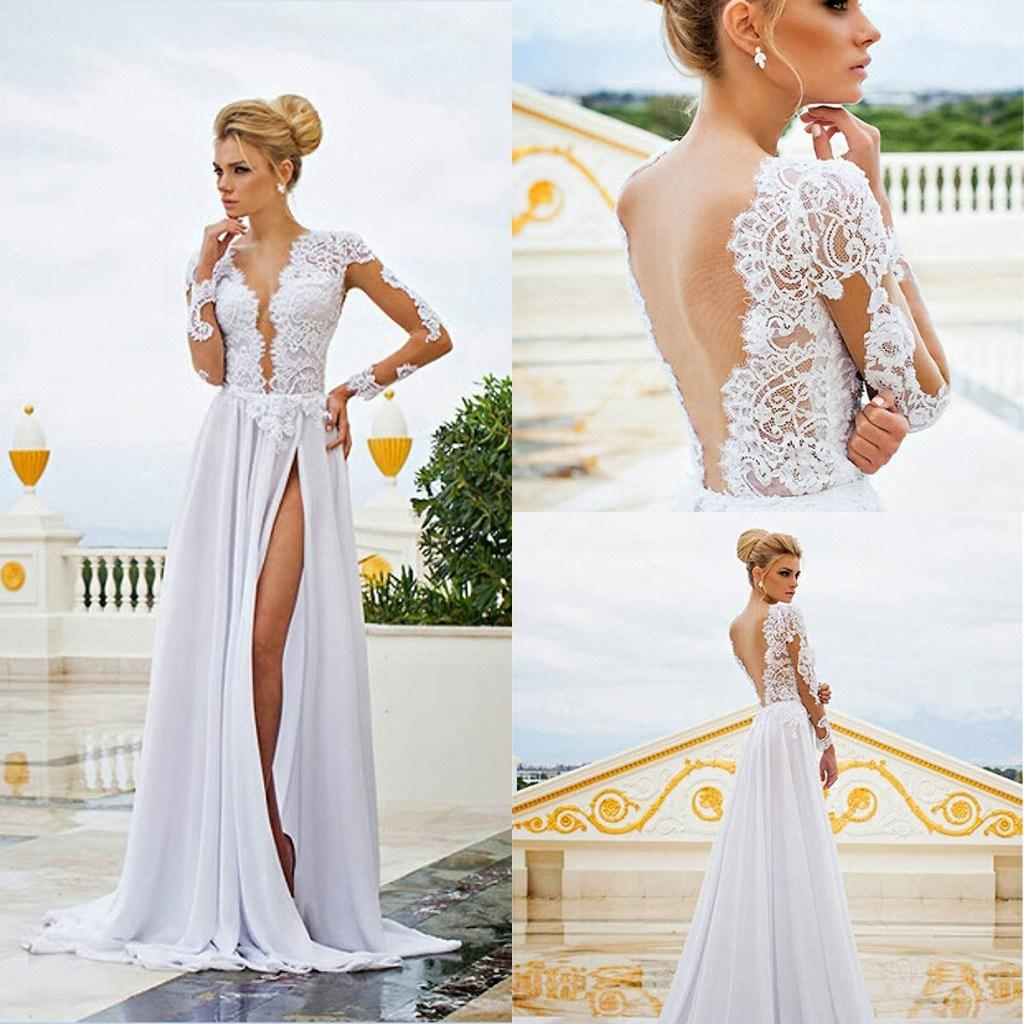 dbca5ad320d1c Long Sleeves Lace appliques Chiffon Wedding Dress 2015 See Through Plunging V  Neck High Front Slit