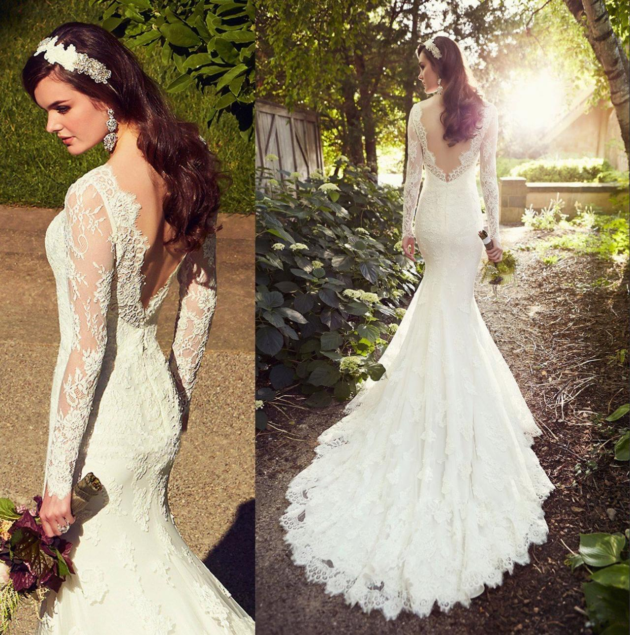 Whiteivory Lace Wedding Dresses Mermaid Wedding Dress Backless